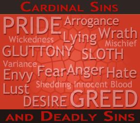 7 deadly cardinal sins