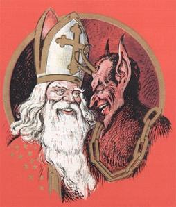 The Santa god with his demon, Krampus, half-goat/half man (Wikimedia Commons)