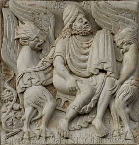 Simon Magus, Demons and The Birth of Wine on the Miegeville's Gate of the Saint Sernin Abbey in Toulouse, France (Pierre Selim, Wikimedia Commons) Deut. 32:33 Their wine [is] the poison of dragons (Rev. 12:9, 13, 17), and the cruel venom of vipers (Matthew chapters 3:7; 12:34; 23:33).