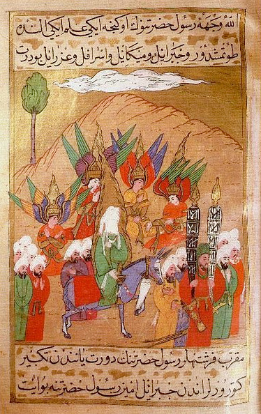 """The Prophet and his companions advancing on Mecca, attended by the angels Gabriel, Michael, Israfil and Azrail"" (artwork from Wikimedia Commons)"