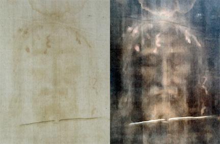 A digitally-enhanced Face of the Shroud (Wikimedia Commons)