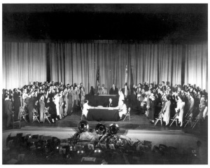 Thirty-nine of the German-born scientists at the U.S. Redstone Arsenal, along with the wives of two of the Operation Paperclip group, were sworn in as U.S. citizens at the 1954 naturalization ceremony. [They were formerly employed Nazi Germany].