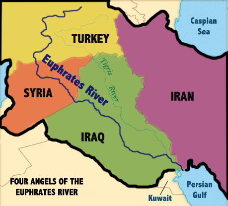 Four Angels Of The Euphrates Syria Iran Turkey And Iraq Time - Tigris and euphrates river map