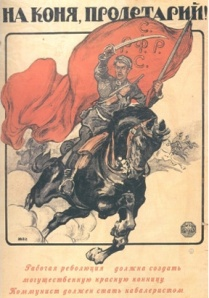 "Poster's message: ""Get on the Horse workers and farmers. Pledge/Key to Victory!"""
