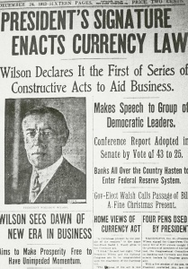 Wilson Enacts Currency Law