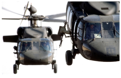 Faces of men, helicopters, Revelation 9