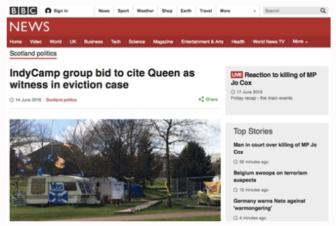 BBCNews, Indycamp Cite Queen as Witness